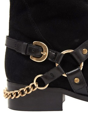 Image 2 of Dune Morgan Knee High Suede Boot with Hardware Detail