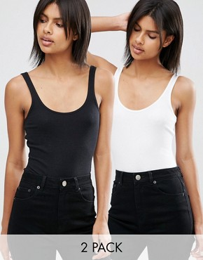 ASOS Vest Body In Rib 2 Pack Save 15%