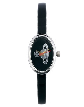 Image 1 ofVivienne Westwood Medal Orb Black Leather Strap Watch