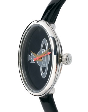 Image 3 ofVivienne Westwood Medal Orb Black Leather Strap Watch