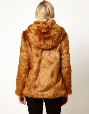 Image 2 ofASOS Maternity Fur Hooded Coat With Pom Poms