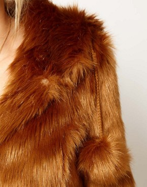 Image 3 ofASOS Maternity Fur Hooded Coat With Pom Poms