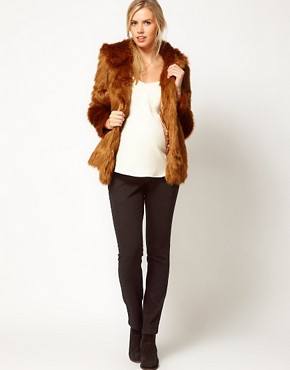 Image 4 ofASOS Maternity Fur Hooded Coat With Pom Poms