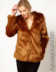 ASOS Maternity Fur Hooded Coat With Pom Poms