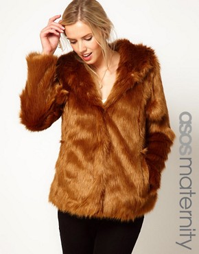 Image 1 ofASOS Maternity Fur Hooded Coat With Pom Poms