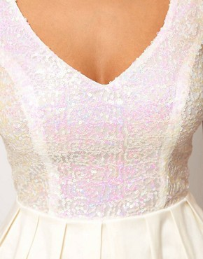 Image 3 of ASOS PETITE Prom Dress With Sequin Top