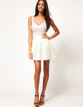 Image 4 ofASOS PETITE Prom Dress With Sequin Top