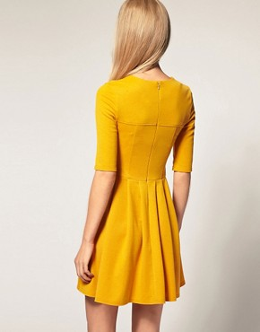 Image 2 ofASOS Pleated Skirt Dress with big Button Detail