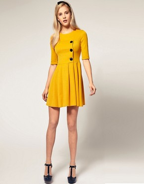 Image 4 ofASOS Pleated Skirt Dress with big Button Detail