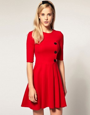 Image 1 ofASOS Pleated Skirt Dress with big Button Detail