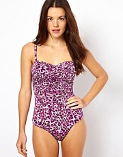 Sunseeker Leopard Print Ruched Bandeau One Piece Swimsuit