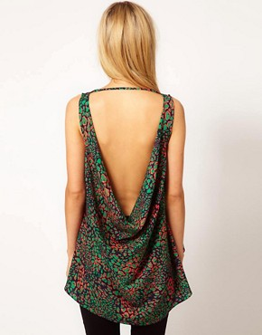 Image 1 ofASOS Top With Bright Animal Print And Low Cowl Back