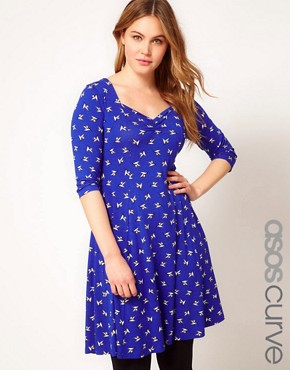 Image 1 ofASOS CURVE Sweetheart Dress In Bird Print