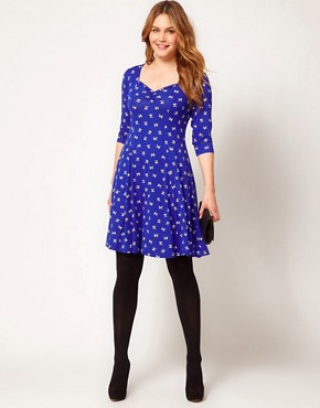 Image 4 ofASOS CURVE Sweetheart Dress In Bird Print