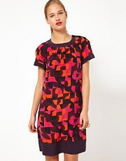 M Missoni Short Sleeved Geo Print Silk Shift Dress