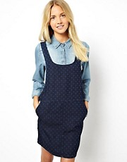 ASOS Denim Pinafore Dress in Spot Print
