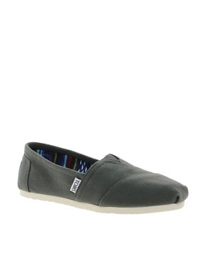 Image 1 ofTOMS Classic Grey Canvas Flat Shoes