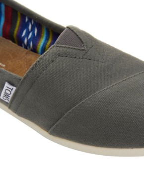 Image 2 ofTOMS Classic Grey Canvas Flat Shoes