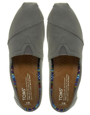 Image 3 ofTOMS Classic Grey Canvas Flat Shoes