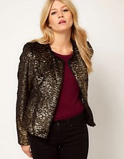 Oasis Metallic Print Fur Jacket