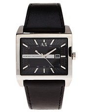 Armani Exchange Black Leather Strap Watch AX2203