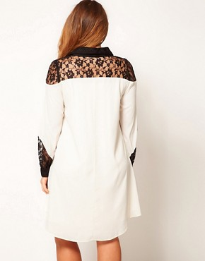 Image 2 ofASOS CURVE Exclusive Shirt Dress With Lace Detail