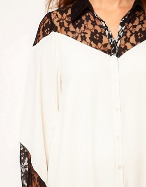 Image 3 ofASOS CURVE Exclusive Shirt Dress With Lace Detail