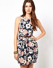 Rare Floral Printed Denim Dress With Full Skirt