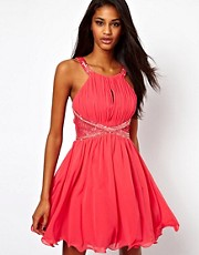 Little Mistress Lace Insert Embellished Prom Dress