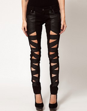Image 1 ofTripp Nyc Leather Look Z Cut Skinnies