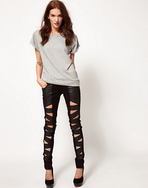 Image 4 ofTripp Nyc Leather Look Z Cut Skinnies