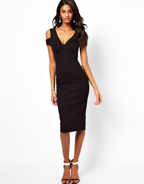 Image 1 ofASOS Sexy Pencil Dress With Textured Cold Shoulder