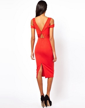 Image 2 ofASOS Sexy Pencil Dress With Textured Cold Shoulder