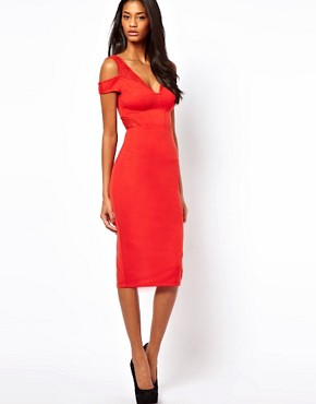 Image 4 ofASOS Sexy Pencil Dress With Textured Cold Shoulder