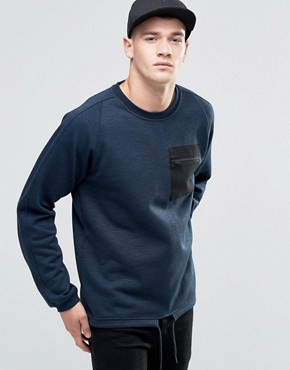 Jack & Jones Zip Pocket Sweat with Drawstring Hem