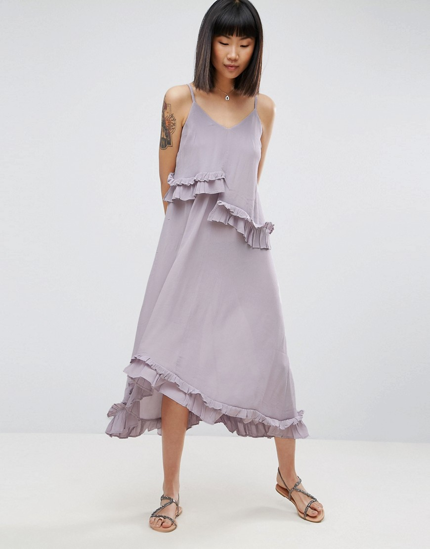 ASOS Double Layer Maxi Dress with Ruffle Detail in Washed Fabric - Lilac