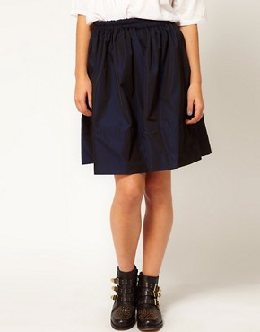 Image 4 ofWhite Tent Full Skirt In Navy Taffeta