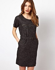By Zoe Melange Sweat Dress with Short Sleeves and Waist Belt