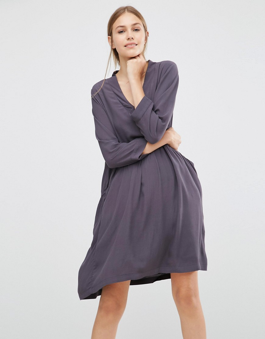 Just Female Lola Smock Dress - Gray
