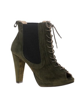 Image 1 ofGanni Suede Ankle Boots With Lace-Up And Peep Toe