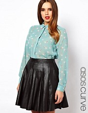 ASOS CURVE Shirt In Heart and Dog Print