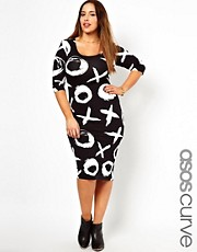 ASOS CURVE Exclusive Bodycon Dress In XOXO Print