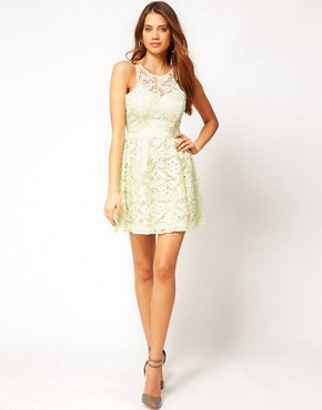 Image 4 ofLipsy Waxed Lace Prom Dress