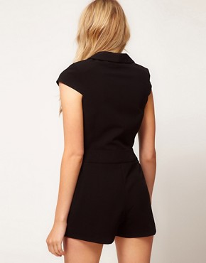 Image 2 ofASOS PETITE Exclusive Playsuit With Plunging Neckline