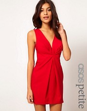 ASOS PETITE Exclusive Shift Dress With Deep V Neckline