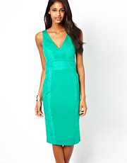 ASOS Pencil Dress With Lace Panels And Plunge Neck