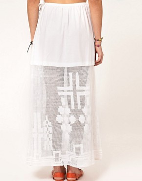 Image 2 ofASOS Washed Maxi Skirt With Embroidered Hem