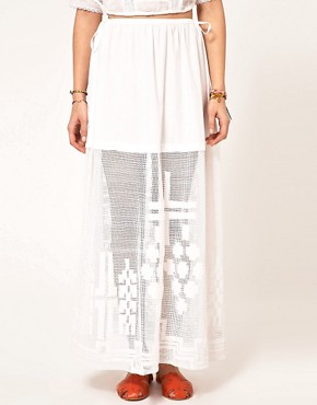 Image 4 ofASOS Washed Maxi Skirt With Embroidered Hem