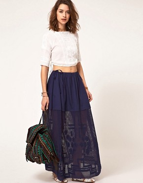 Image 1 ofASOS Washed Maxi Skirt With Embroidered Hem