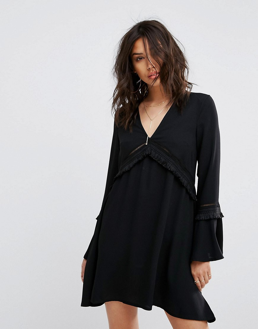 PrettyLittleThing Fringe Detail Smock Dress - Black
